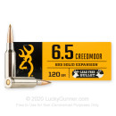 Premium 6.5 Creedmoor Ammo For Sale - 120 Grain Solid Expansion Ammunition in Stock by Browning BXS - 20 Rounds