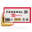 Bulk 9mm Ammo For Sale - 115 Grain FMJ Ammunition in Stock by Federal Champion Training - 1000 Rounds