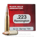 Premium 223 Rem Ammo For Sale - 62 Grain Barnes TSX Ammunition in Stock by Black Hills - 50 Rounds