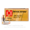 380 Auto Defense Ammo In Stock - 90 gr JHP Critical Defense - 380 ACP Ammunition by Hornady For Sale - 25 Rounds