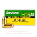 Cheap 45 ACP Ammo For Sale - 230 Grain JHP Subsonic Remington HTP Ammunition In Stock - 50 Rounds