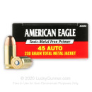 45 ACP Ammo For Sale - 230 gr TMJ .45 Auto Ammunition In Stock by Federal American Eagle - 50 Rounds