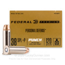 Premium 38 Special +P Ammo For Sale - 120 Grain JHP Ammunition in Stock by Federal Punch - 20 Rounds