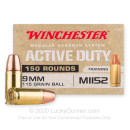Cheap 9mm Ammo For Sale - 115 Grain FMJ M1152 Ammunition in Stock by Winchester Active Duty - 150 Rounds