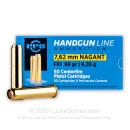 Cheap 7.62mm Nagant Ammo For Sale - 98 gr JFP Jacketed Flat Point Ammunition Online by Prvi Partizan - 50 Rounds