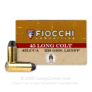 45 LC Ammo For Sale - 250 gr LRNFP - Fiocchi Ammunition In Stock - 500 Rounds