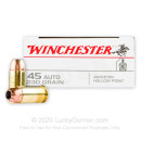 45 ACP Ammo - 230 gr JHP - Winchester USA Ammunition - 50 Rounds