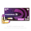 Premium 45 ACP Ammo For Sale - 230 Grain Total Synthetic Jacket Ammunition in Stock by Federal Syntech Training Match - 50 Rounds