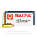 Premium 450 Bushmaster Ammo For Sale - 395 Grain Sub-X Ammunition in Stock by Hornady Subsonic - 20 Rounds