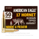 Cheap 17 Hornet Ammo For Sale - 20 Grain Polymer Tip Ammunition in Stock by Federal American Eagle Varmint & Predator - 50 Rounds