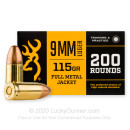 Cheap 9mm Ammo For Sale - 115 Grain FMJ Ammunition in Stock by Browning - 200 Rounds