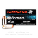 Premium 40 S&W Ammo For Sale - 165 Grain JHP Ammunition in Stock by Winchester Ranger Bonded - 50 Rounds - LE Trade-In