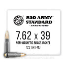 Bulk 7.62x39 Ammo For Sale - 122 Grain Nonmagnetic Brass FMJ Ammunition in Stock by Red Army Standard - 1000 Rounds