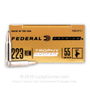 Premium 223 Rem Ammo For Sale - 55 Grain Trophy Copper Ammunition in Stock by Federal - 20 Rounds