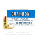 40 S&W Ammo - Corbon 150gr JHP - 500 Rounds