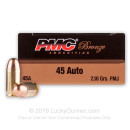 Cheap 45 ACP Ammo For Sale - 230 gr FMJ Ammunition by PMC In Stock - 50 Rounds