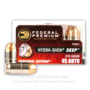 Premium 45 ACP Ammo For Sale - 210 Grain Jacketed Hollow Point Ammunition in Stock by Federal Hydra-Shok Deep - 20 Rounds