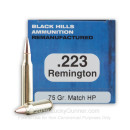 Cheap 223 Rem Ammo For Sale - 75 Grain Match HP Ammunition in Stock by Black Hills Remanufactured - 50 Rounds