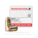 380 Auto Ammo In Stock - 95 gr FMJ - 380 ACP Ammunition by Winchester USA For Sale - 100 Round Value Pack