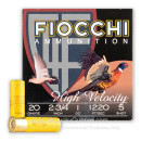 """Cheap 20 ga High Velocity Shot Shells For Sale - 2-3/4"""" 1 oz  #5 Shot by by Fiocchi - 25 Rounds"""