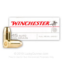 Bulk 45 ACP Ammo For Sale - 185 Grain FMJ Ammunition in Stock by Winchester USA - 500 Rounds