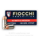 Bulk 40 S&W Ammo For Sale - 180 Grain XTP Hollow Point Ammunition in Stock by Fiocchi - 500 Rounds