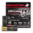 "Premium 12 Gauge Ammo For Sale - 2 3/4"" 1 1/4 oz. #4 Steel Shot Ammunition in Stock by Winchester Drylok Super Steel - 25 Rounds"