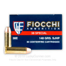 Cheap 38 Special Ammo For Sale - 148 gr SJHP Fiocchi Ammunition In Stock - 50 Rounds