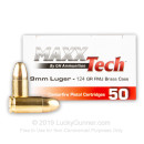 Cheap 9mm Ammo For Sale - 124 Grain FMJ Ammunition in Stock by MAXX Tech - 50 Rounds