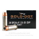 Premium 38 Special +P Ammo For Sale - 135 gr Speer Gold Dot Ammo - 50 Rounds