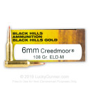 Premium 6mm Creedmoor Ammo For Sale - 108 Grain ELD Match Ammunition in Stock by Black Hills Gold - 20 Rounds