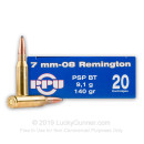 Cheap 7mm-08 Rem Ammo For Sale - 140 Grain SP Ammunition in Stock by Prvi Partizan - 20 Rounds