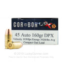 Premium 45 ACP Ammo For Sale - 160 Grain  Solid Copper Hollow Point Ammunition in Stock by Corbon DPX - 20 Rounds