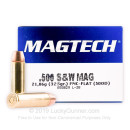 Cheap 500 S&W Ammo For Sale - 325 Grain FMJ Ammunition in Stock by Magtech - 20 Rounds