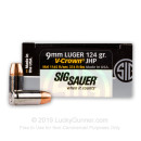 Premium Defensive 9mm Ammo For Sale - 124 gr JHP  - Sig Sauer V-Crown Ammunition In Stock - 20 Rounds