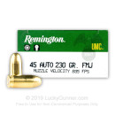 45 ACP Ammo For Sale - 230 gr MC - Remington UMC Ammunition In Stock - 50 Rounds