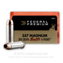 Premium 357 Mag Ammo For Sale - 180 Grain Swift A-Frame JHP Ammunition in Stock by Federal Vital-Shok - 20 Rounds