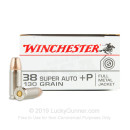 Cheap 38 Super Ammo For Sale - 130 Grain FMJ Ammunition in Stock by Winchester - 50 Rounds