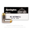 Premium 45 ACP Ammo For Sale - 230 Grain BJHP Ammunition in Stock by Remington Golden Saber - 50 Rounds