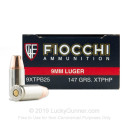 9mm Luger Ammo - Fiocchi Extrema 147gr JHP - 25 Rounds