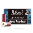 "Cheap 12 Gauge Ammo For Sale - 2 3/4"" 1 1/8 oz. #4 Shot Ammunition in Stock by Federal Heavy Field Load - 25 Rounds"