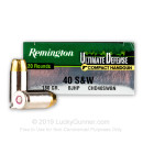 Bulk 40 S&W Ammo For Sale - 180 gr BJHP Remington Ultimate Defense Ammunition In Stock - 500 Rounds