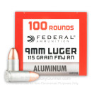 Bulk 9mm Ammo For Sale - 115 Grain FMJ RN Ammunition in Stock by Federal Champion Aluminum - 1000 Rounds