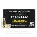 9mm Luger Ammo For Sale - 124 gr +P JHP Magtech Guardian Gold Defense Ammunition In Stock