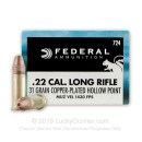 Bulk Cheap .22 Long Rifle Ammo For Sale – 31 Grain Copper Plated Hollow Point Ammunition in Stock by Federal Premium - 5000 Rounds