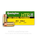 40 S&W Ammo For Sale - 155 gr Jacketed Hollow Point Remington HTP Ammunition In Stock - 50 Rounds