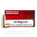 Premium 44 Mag Ammo For Sale - 300 Grain JHP Ammunition in Stock by Black Hills - 50 Rounds