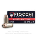 Defense 40 Cal Ammo For Sale - 180 gr JHP Fiocchi Ammunition