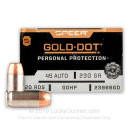 45 ACP Defense Ammo In Stock - 230 gr JHP - 45 ACP Ammunition by Speer Gold Dot For Sale - 20 Rounds
