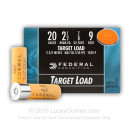 "20 Gauge Ammo - 2-3/4"" Lead Shot Target shells - 7/8 oz - #9 - Federal Top Gun - 25 Rounds"